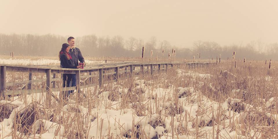 Winter engagement photography at Lynde Shores