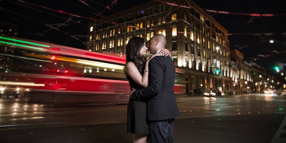 Toronto night engagement photography with streetcar