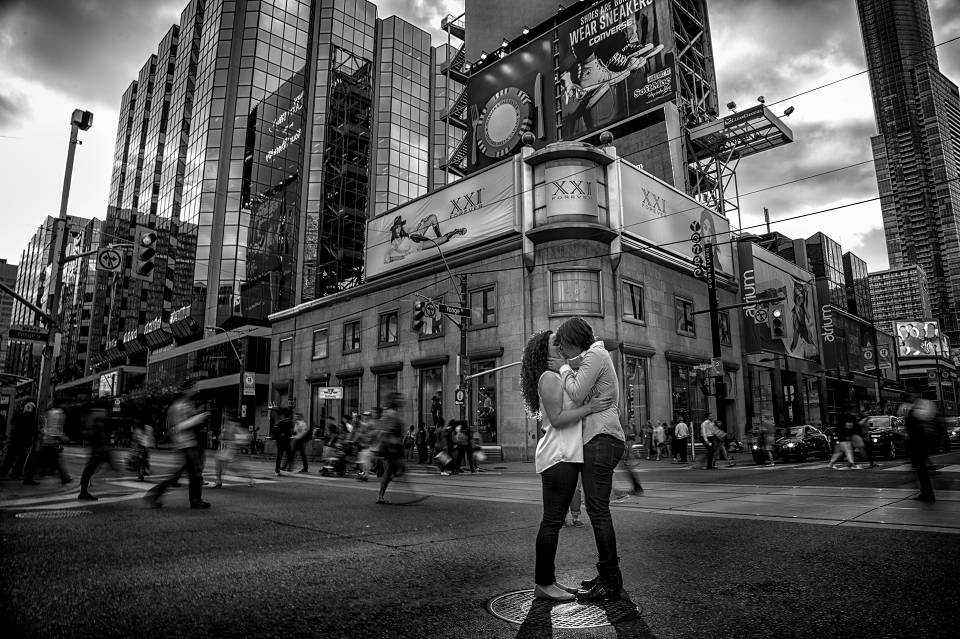 Yonge dundas square toronto engagement photography