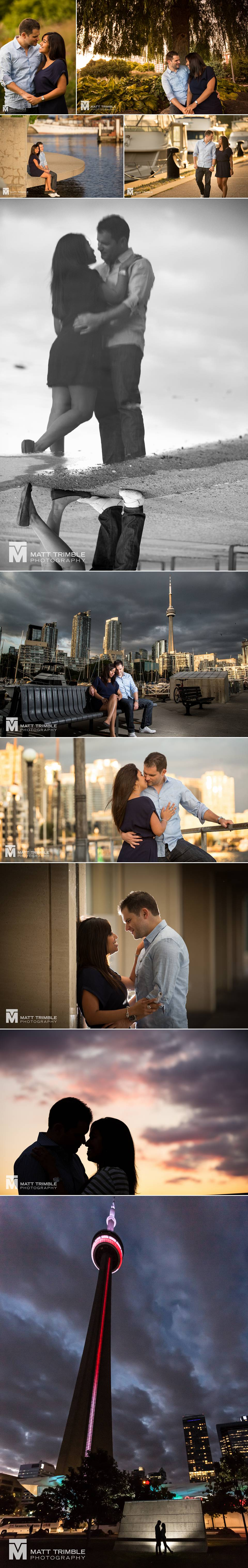 Evening engagement photos in downtown toronto