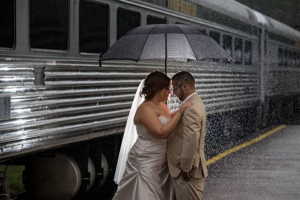 rainy wedding photography in uxbridge train station