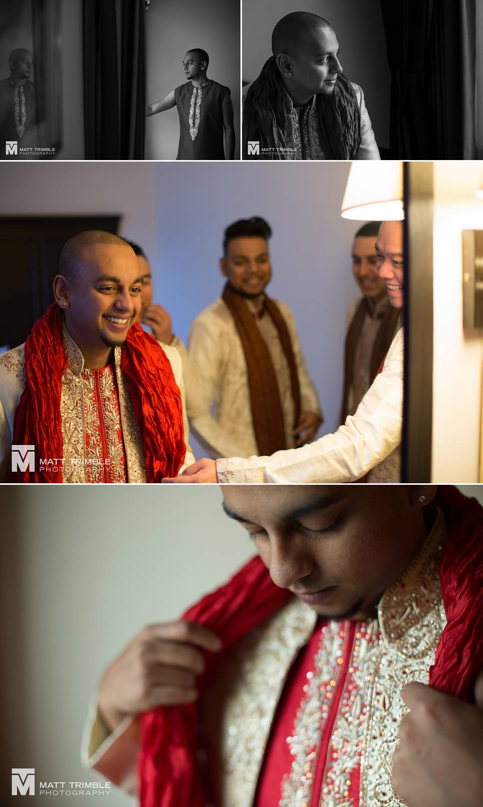 Groom getting ready for hindu wedding ceremony