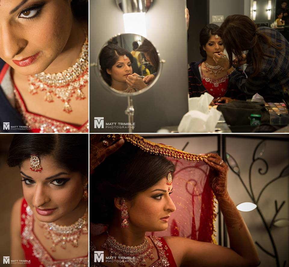 Hindu bride getting ready for wedding