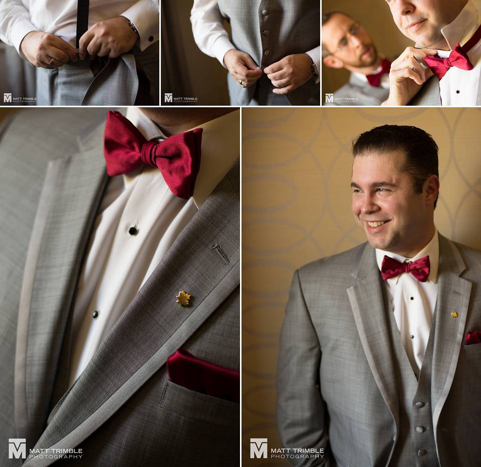 Groomsmen getting ready for wedding at the Nottawasaga Inn