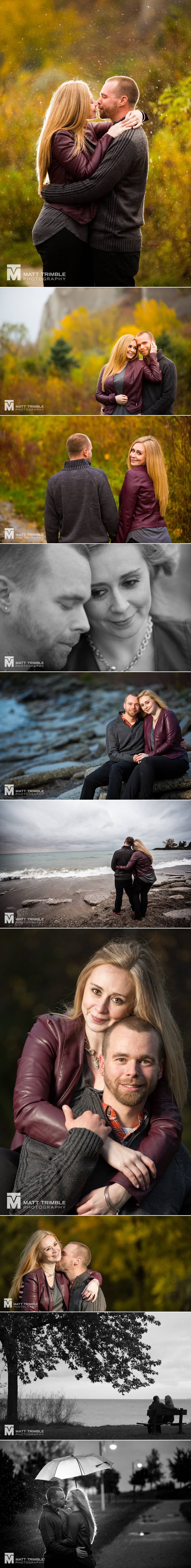 rainy engagement photography at the Scarborough Bluffs