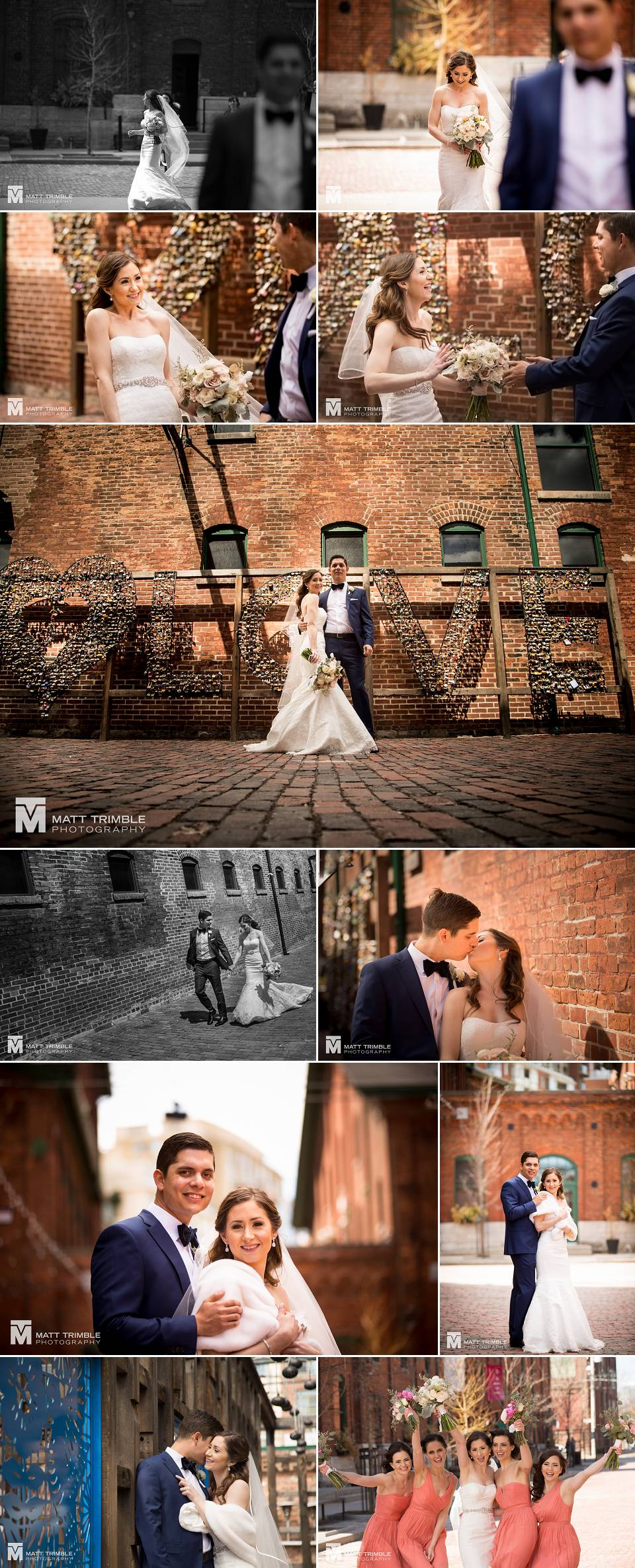 Toronto wedding photography first look distillery district