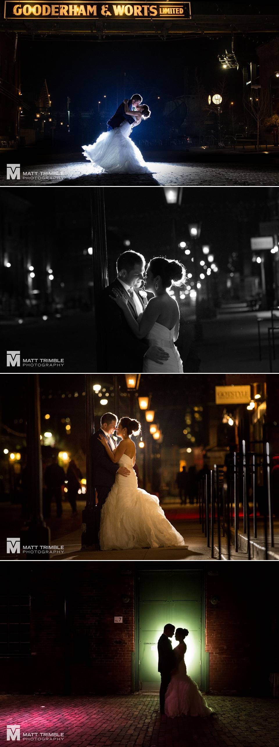 Night wedding photography at the toronto distillery district