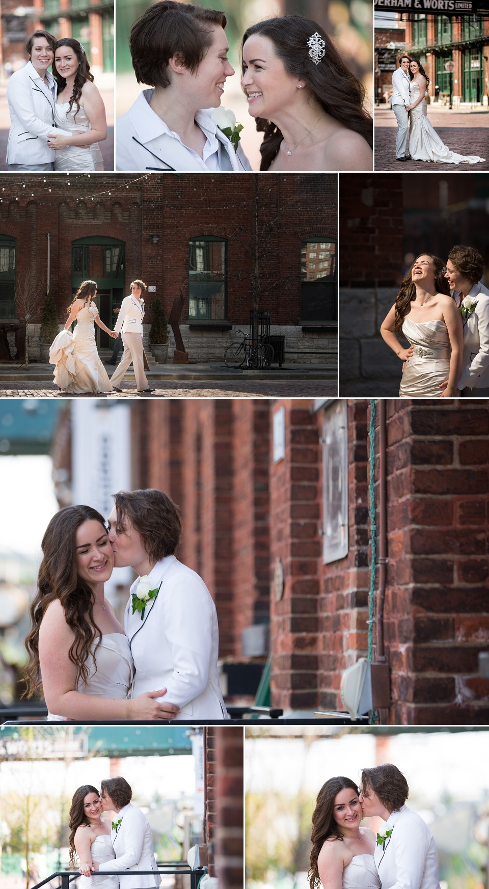 Wedding photography at the Toronto Distillery District