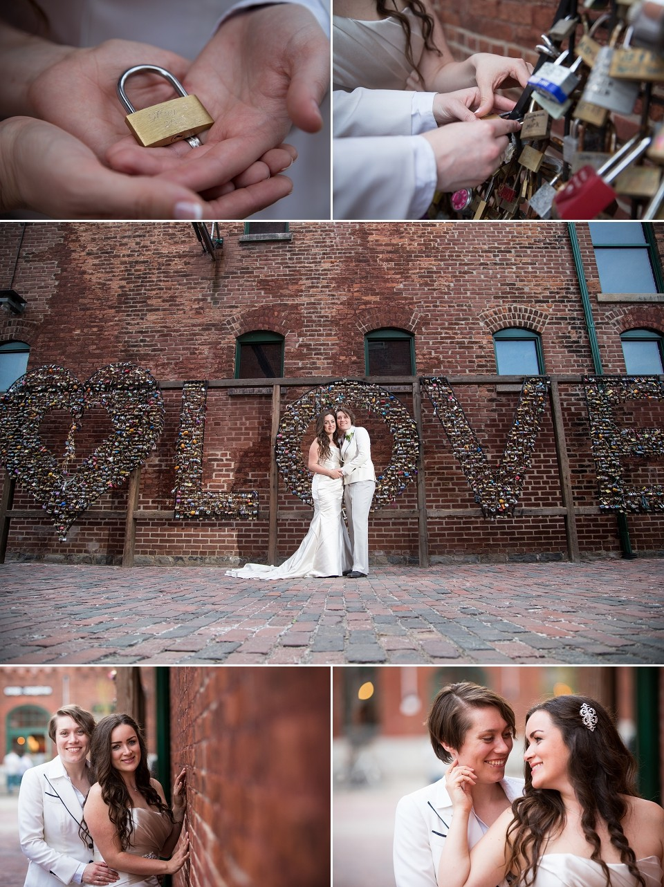 attaching their lock at the distillery district wedding