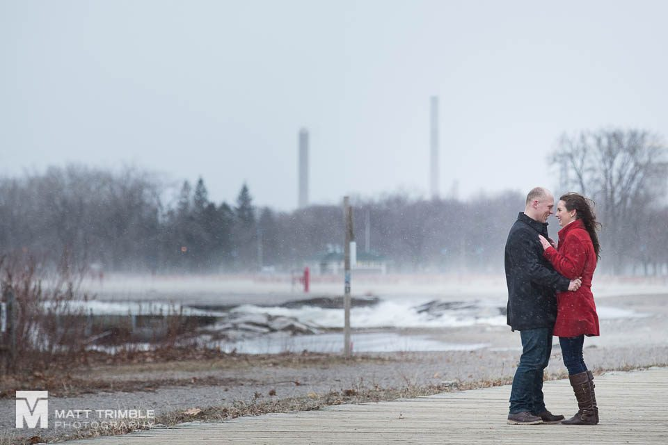 the beaches winter engagement photo