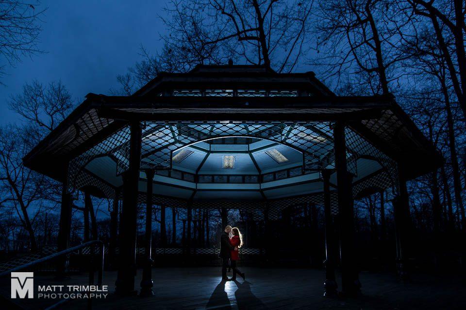 night winter engagement photography