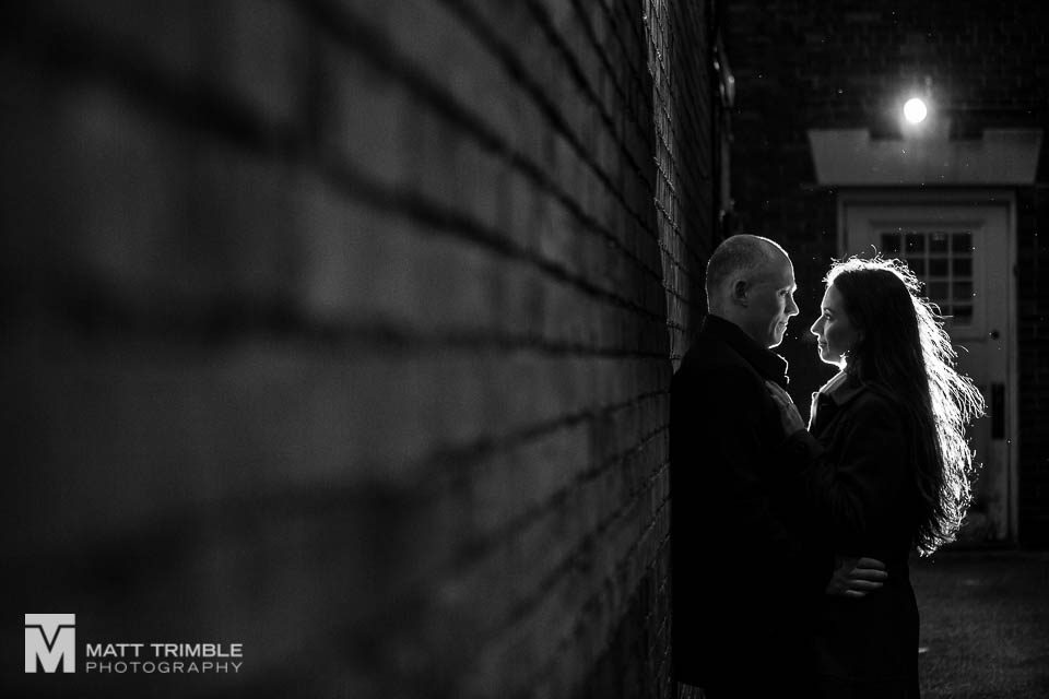 evening winter engagement photos
