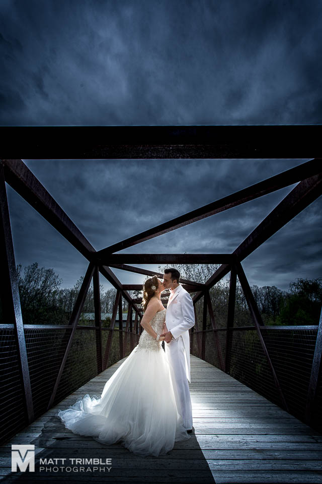 rainy wedding photography bridge