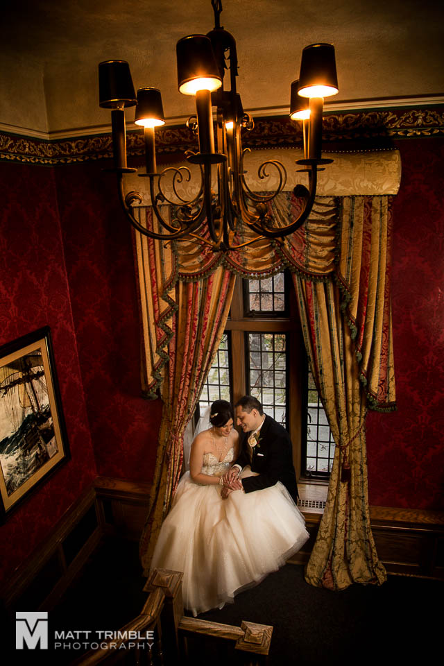bride and groom portrait window bob rumball manor wedding