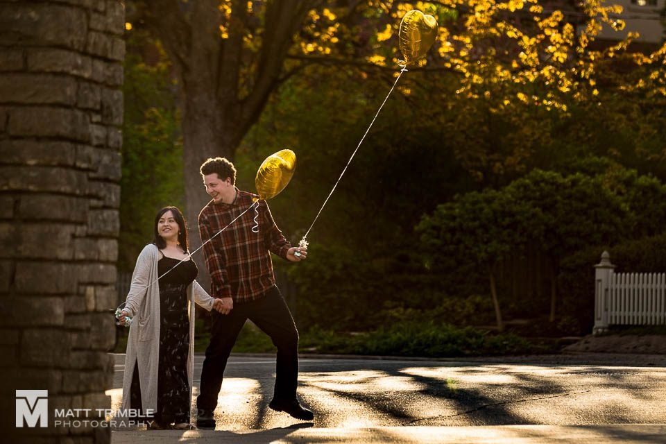 toronto engagement photo with balloons