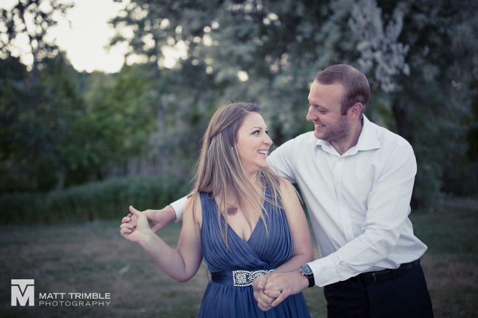 fun dancing engagement photo