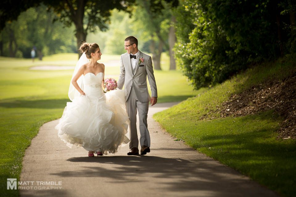 walking wedding photography at markland wood golf club