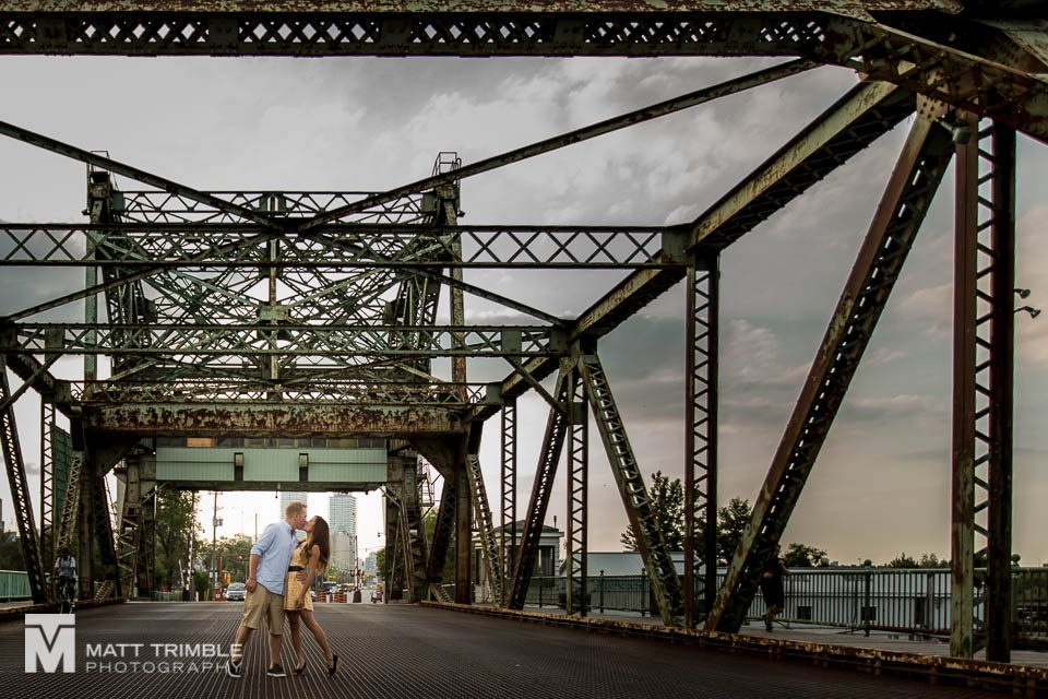 cherry street bridge engagement photo toronto