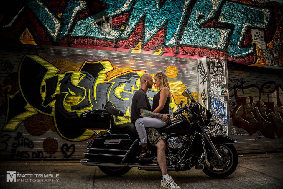motorcycle engagement photography graffiti alley toronto