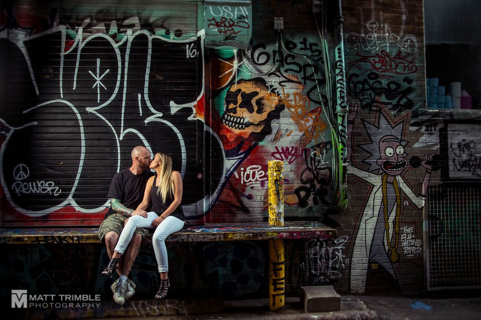 graffiti walls engagement photography in toronto