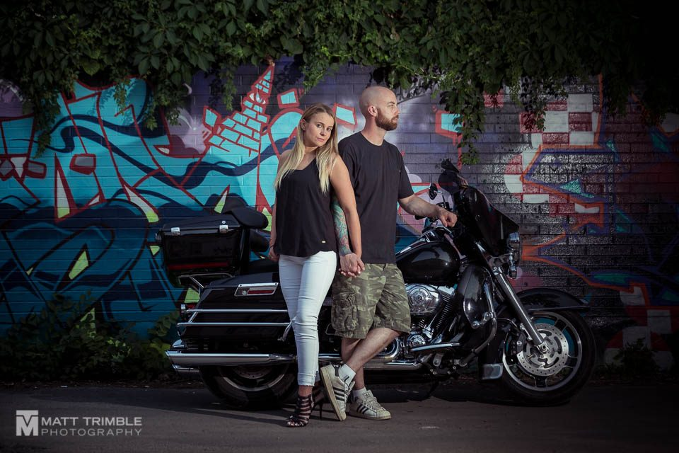 motorbike and couple engagement photo toronto