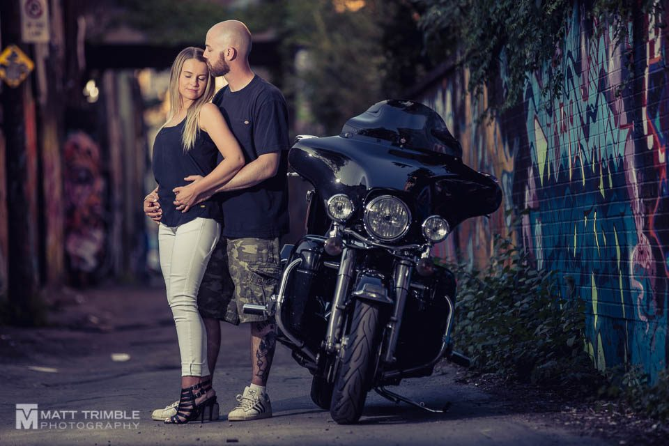couple and motorbike engagement session